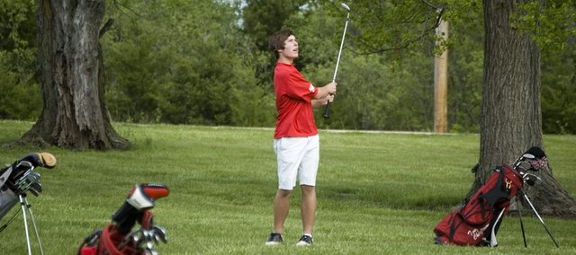 Colby Yates, Tonganoxie High freshman, won the Kaw Valley League championship on Monday with a score of 75. THS lost a tiebreaker for the league crown and finished second as a team.