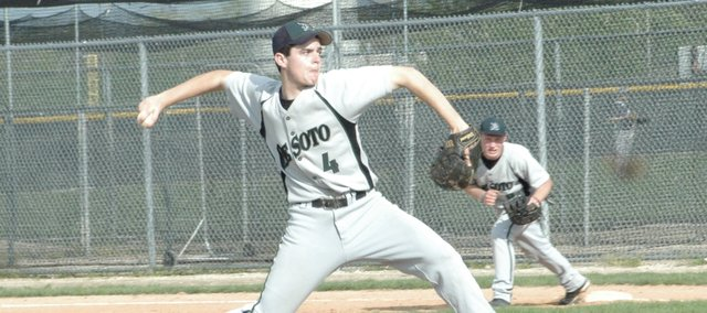 Kyle McCulloch delivers a pitch Thursday against Baldwin. De Soto split a doubleheader with the Bulldogs and were swept by Eudora on Monday night.