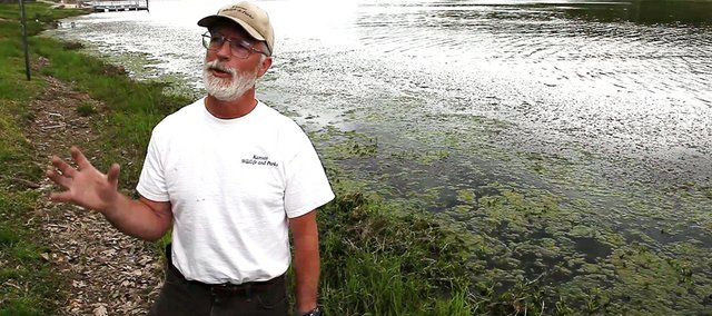 Richard Sanders, district fisheries biologist for the Kansas Department of Wildlife and Parks, talks about the growth of curly leaf pond weed at Lone Star Lake that has some residents, boaters and fishing enthusiasts annoyed. In years past Douglas County officials have allowed a herbicide be sprayed to kill the weed, which Sanders said can provide a nice habitat for fish. The County Commission will decide tonight whether to authorize spraying this year.