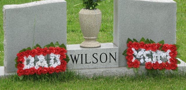 Flowers decorate a headstone at Glenwood Cemetery in Basehor. The Basehor VFW organized a service at the cemetery for Memorial Day.