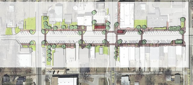 A preliminary plan for a downtown streetscape upgrade would provide sidewalk level building entrances through the use of ramps and stairs. Architects will present a refined plan June 18 to the city council.