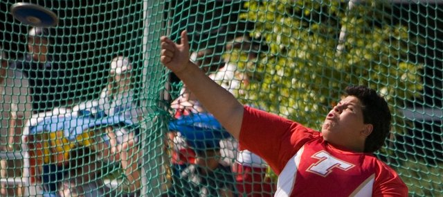 Domino Grizzle set a new personal record in the discus on Friday at state. Her throw of 119-9 won the Tonganoxie sophomore a fifth-place medal.