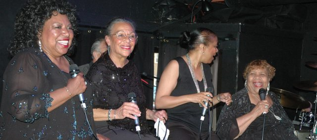 Myra Taylor, right, sings with the other women of The Wild Women of Kansas City at Jardine's Restaurant and Jazz Club. Taylor, 92, a former resident of Bonner Springs, has traveled the world and country as a professional singer throughout her lifetime. Also pictured, from left, are Lori Tucker, Geneva Price and Millie Edwards.