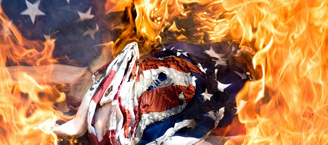 United States Code states that unserviceable flags should be destroyed by fire.