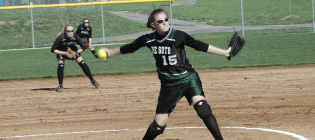 Katie Williams, delivers a pitch during the regular season. Williams went 9-9 and had a 2.23 ERA this year for the De Soto softball team. Williams also struck out 161 batters and walked just 20 in 110 innings.
