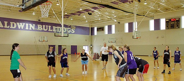 Baldwin High School's girls' basketball camp was the same week as the volleyball camp, which became a long week of camp for several Bulldogs involved in both sports.