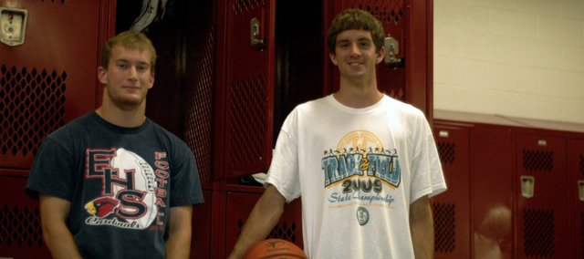 Ryan Fisher, left, and Justin Ballock, right, are The Eudora News 2008-2009 Co-Male Athletes of the Year. Fisher ran for 1,826 yards and scored 20 touchdowns for the Eudora football team. Fisher was a first team all-league pick and was honorable mention all-state. Ballock averaged 15 points and five rebounds a game for the EHS basketball team and was a first team all-league pick. Ballock also set the school record in both hurdle events in track and placed sixth and seventh in the hurdles at state.