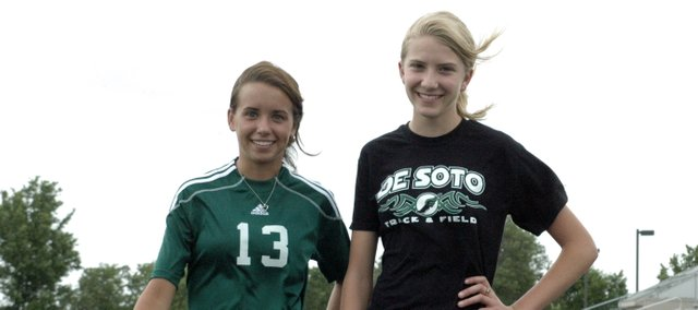 Carly Stanley, left, and Lacey Erickson, right, are the De Soto Explorer's Co-Female Athletes of the Year. Stanley set the school record for goals and points in a soccer season and was a first team all-league and all-state pick. Erickson broke three DHS track records this year and finished sixth at the state cross country meet.