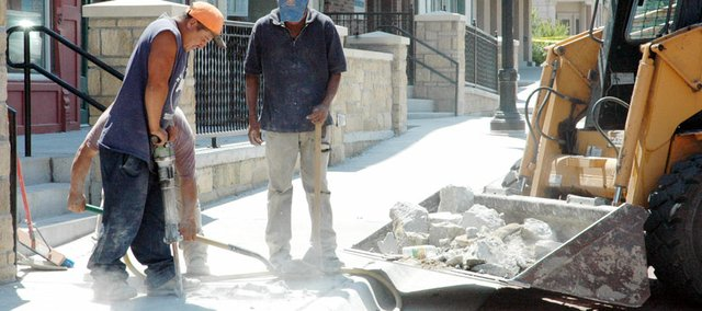 In a scene familiar to downtown Baldwin City from the last two years, workers from Bryant and Bryant Construction returned to replace cracked sidewalks Monday. The warranty on the $1.8 million Downtown Streetscape Project ends Tuesday and city officials had an inspector and the contractor in to view needed repairs. It's unknown how long the repairs will take.
