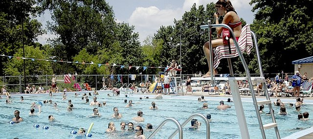 The Baldwin City Municipal Pool was packed with people a year ago for the Fourth of July celebration. The pool will be open with free admission from 12:30 p.m. to 4 p.m. Saturday. There will also be free hot dogs, music and games at the pool.