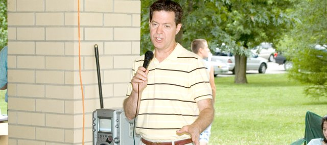 U.S. Sen. Sam Brownback speaks at Saturday's Leavenworth County Republican Party barbecue at VFW Park in Tonganoxie. More than 150 people attended the event, which attracted several Republicans running in 2010 elections.