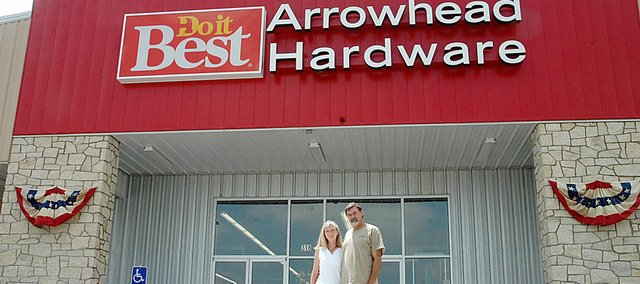 Robbie and Gary Lamoreux opened their new Arrowhead Hardware store in April.