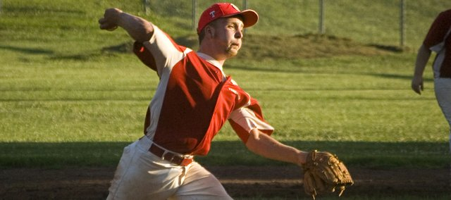 Blaize Oelschlaeger threw all seven innings for Tonganoxie as Post 41 rallied to defeat Easton, 9-8, in the Post 23 League championship on Tuesday night at Leavenworth Sportsfield.