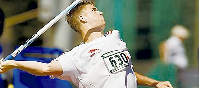 Eric Brown prepares to launch the javelin as a member of the University of Arkansas several years ago. Brown set the Razorbacks' school record during his four years at the school.