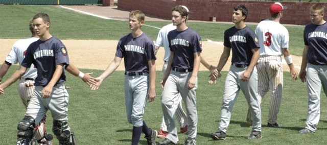 Members of the Eudora Legion baseball team walk off the field after losing to Doniphan County, 3-2, in the first round of the AA state tournament Thursday in Sabetha. Eudora also lost to Pratt, 7-5, Friday to end the season.