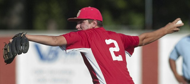 AJ Gilbert pitches for Tonganoxie on Thursday against Lawrence at JayCee Ballpark in Pittsburg. Post 41 lost, 24-2, and was eliminated from the Kansas AAA Legion baseball tournament on Friday with a 21-2 loss to Newton.