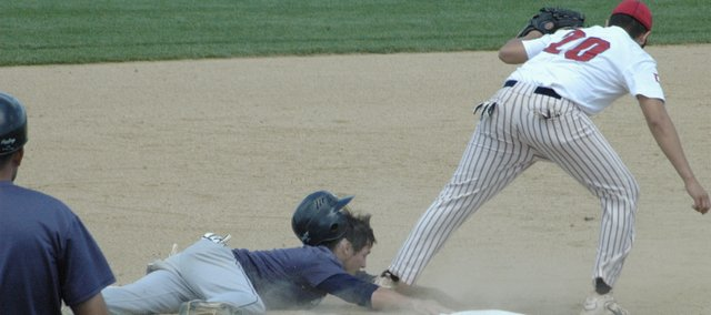 Bryan Dudley steals third during the bottom of the sixth inning against Doniphan County at the AA state baseball tournament Thursday in Sabetha. Dudley later scored on a double steal, but Eudora lost the game, 3-2. Eudora then lost to Pratt 8-4 to end its season. 