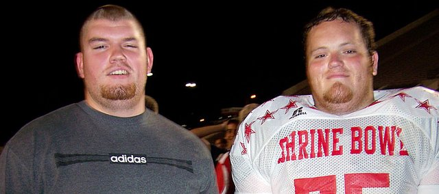 Baldwin High School graduates Anthony Ciambrone, left, and David Tuley, represented BHS at the 2008 and 2009 Kansas Shrine Bowl All-Star football games.