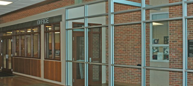 Visitors to Lexington Trails Middle School will enter the building to the office via the corridor.