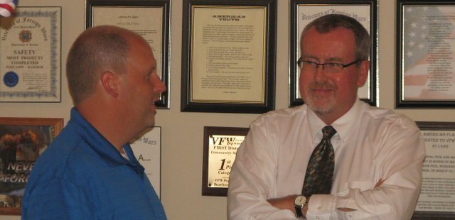 New Basehor City Administrator Mark Loughry (left) chats Thursday night with Leavenworth County Development Corporation Executive Director Steve Jack.