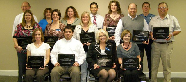 The 2008-09 edition of the Southern Leavenworth County Leadership Development class graduated in May at Community National Bank in Basehor. Seated, from left, Sundae Holler, Nick Hoegler, Pam Dean and Stephenie Sudduth; middle row, from left, Dana Splichal, Tamara Morando, Sandy Koontz, Steve Allen and Kenny Guenther; back row, from left, Carl Slaugh, Tina Diekmann, Ann Magee, Aladdin Ashkar, Kathy Renn and Andrew Burns. Not pictured: Rachel Krivjansky and Dalton Lawson.