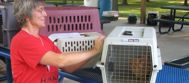 Leavenworth County Humane Society Director Crystal Swann Blackdeer writes the name of a cat on its kennel Aug. 13 during the spay/neuter transport program drop off. Pet owners took their animals to the Basehor City Park to have them transported to a clinic for spay and neuter procedures.