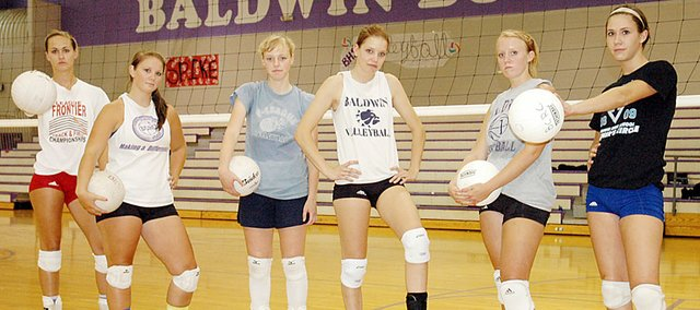 Baldwin High School's varsity volleyball team returns six starters from a year ago. They are, from left, junior Lyndsey Lober, junior Kyla Good, senior Mallory Sansom, senior Katie Brecheisen, senior Taylor Brown and junior Ramie Burkhart. The Bulldogs start their season Tuesday at Eudora.