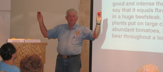 Bill Kromer, a master gardener, speaks at the Basehor Community Library during a presentation on heirloom tomatoes.