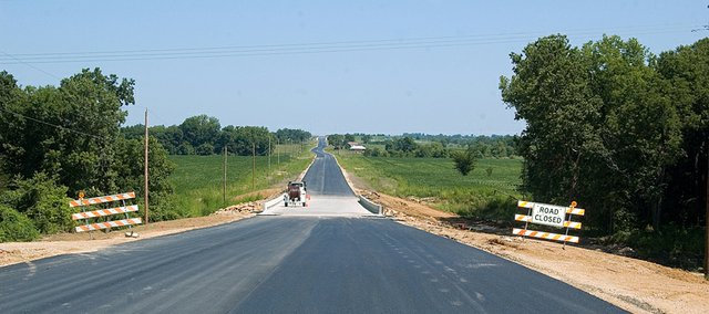 Work on County Road 1 continues in southern Leavenworth County. The road is expected to be open in late September, with the turnpike interchange on Interstate-70 at County Road 1 slated for opening before Thanksgiving.