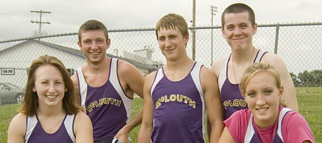 McLouth High's senior cross country runners — Jordan Sparks, Dakotah Cline, Cody Winborn, Sean Owens, Miranda McLaughlin and Anne Courtney (not pictured) — are excited to be part of a true team in 2009 after the Bulldogs spent the past few years competing as individuals at meets.