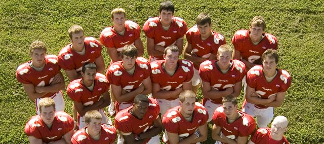 Tonganoxie High's football seniors have high hopes for the upcoming season, which kicks off Friday with a road game at Prairie View in LaCynge. The Chieftains seniors are: (front row) Dylan Young, Billy Anderson, Austen Holloway, Dylan Faulconer, DJ Lindsay, Connor Olson, (middle row) Michael Briones, Richie Ridihalgh, Jason Espeland, Nathan Stauch, Alex Fox, (back row) Jeremie Maus, Ben Myers, Dane Gonser, Devin Botts, Zack Kaighin and Justin Jacobs.