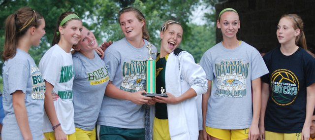 The Basehor-Linwood girls celebrate with their first-place trophy at the Bobcat Invitational. All seven of the BLHS varsity runners finished in the top 15.