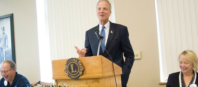 U.S. Rep. Jerry Moran, R-Kan., a fellow Lions Club member, visits the Leavenworth chapter of the Lions Club during their weekly Thursday meeting at the Riverfront Community Center in Leavenworth. Moran is seeking the GOP nomination for the U.S. Senate seat being vacated by Sam Brownback.