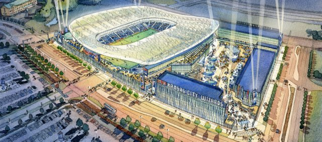 Here is an artist's rendering of the new Kansas City Wizards soccer stadium, which is to be constructed near Kansas Speedway in Kansas City, Kan.