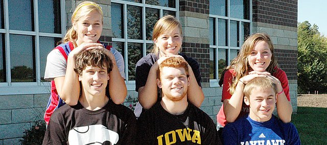 King and Queen candidates for Baldwin High School homecoming Friday are, front row from left, Camdon Schwartz, Sam Foye and Josh Hanson. Back row from left are Connor Twombly, Lauren Barnes and Julie HIll.