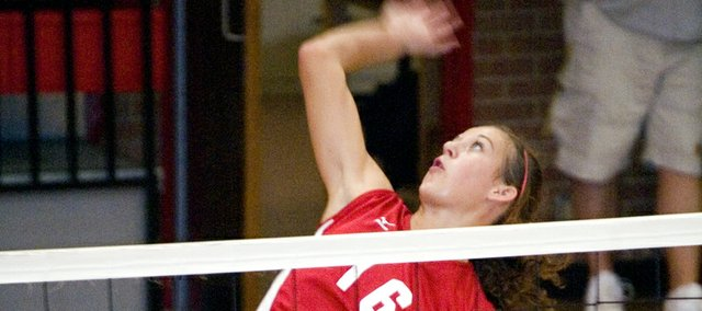 Abby Eisman elevates for a kill during Tonganoxie's victory over Perry-Lecompton on Saturday at the Tonganoxie Invitational. The Chieftains followed that victory with wins against Ottawa and Eudora.