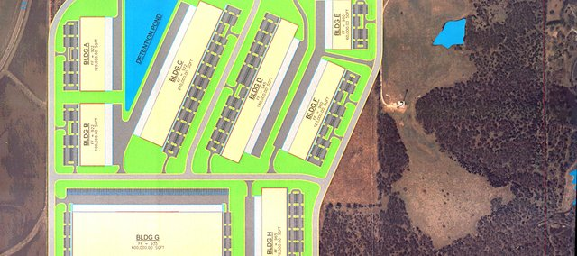 An initial plan for the 237 acre industrial park shows that eight buildings and a detention pond can be built on 144 acres of the parcel. 