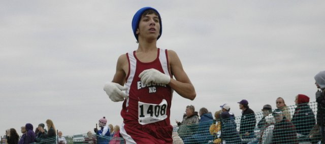 Eudora junior Ivan Espinosa runs Thursday at the Frontier League meet at Rim Rock Farm in Lawrence. Espinosa finished third overall in the boys race. The Eudora boys and girls teams placed fifth overall at the meet. 