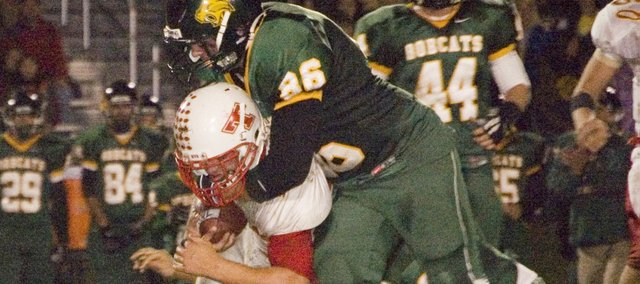 Basehor-Linwood senior Richie O'Donnell makes a tackle during the Bobcats' victory over Tonganoxie.
