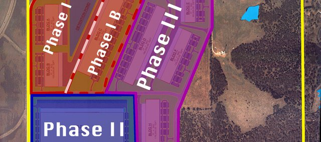 An initial plan for the 237 acre industrial park shows that eight buildings and a detention pond can be built on 144 acres of the parcel. TranSystems' preliminary engineering study estimated the cost to develop the 144 acres to be about $13 million. The Tonganoxie City Council discussed splitting the plan into three phases to help spread out the cost of the project.