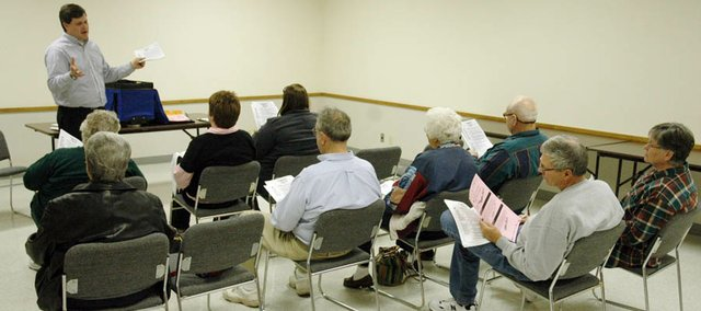 Douglas County Clerk Jamie Shew was in Baldwin City Monday afternoon to train poll workers for Tuesday's election. Baldwin City voters will decide on two sales tax questions. The three Baldwin City polls — American Legion Hall, downtown fire station and Baldwin Elementary School Primary Center — will be open from 7 a.m. to 7 p.m. Shew said he expects to tabulate the results by 8 p.m. and they will be available online as soon as possible.