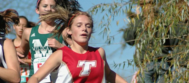 Andie Jeannin runs the final cross country race of her Tonganoxie High career on Saturday at the Class 4A state meet at Wamego Country Club. Jeannin, competing at state for the third time as a Chieftain, took 35th place by finishing the 4K course in 16:54.