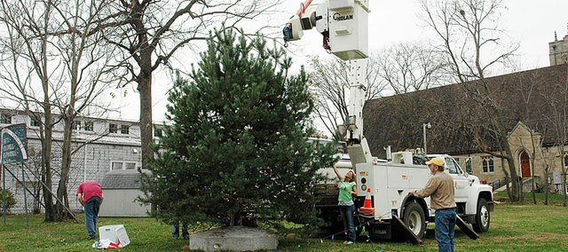 It's beginning to look a lot like Christmas in downtown Baldwin City after city crews put up the Community Christmas Tree. City crews, members of the Baldwin City Recreation Commission and other volunteers started decorating the tree around noon Monday.