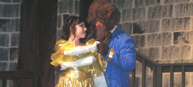 "Basehor-Linwood seniors Kristin Taylor and Noah Adcox play the characters Belle and the Beast in the high school's fall musical ""Beauty and the Beast."""