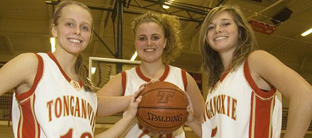 Lauren Hall, Lindsey Fatherley and Andie Jeannin, the three seniors on Tonganoxie High's girls basketball team, lead a relatively young Chieftains squad into the 2009-10 season.