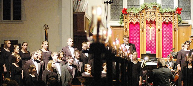 The 79th annual Baker University Christmas Candlelight Vespers were Sunday at the First United Methodist Church. There were two performances, the first at 4 p.m. and the second at 7:30 p.m.
