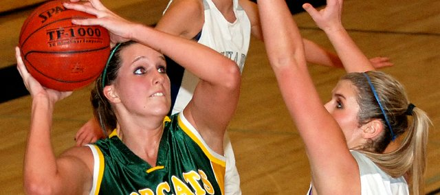 Megan Bergstrom scored a game-high 23 points in the Bobcats&#39; 43-37 loss at Mill Valley.