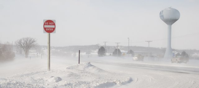 Blowing snow makes driving more difficult on U.S. Highway 24-40 in Tonganoxie.