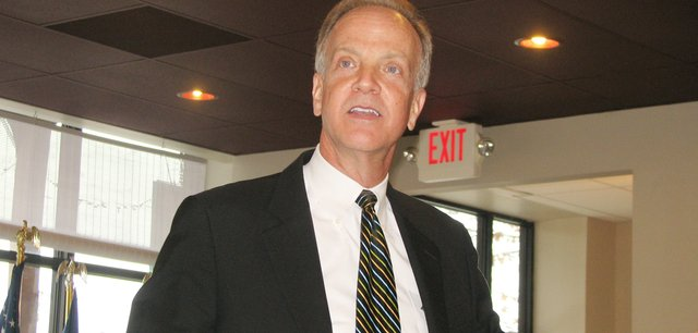 U.S. Rep. Jerry Moran, R-Kan., speaks to a Basehor audience Tuesday morning.