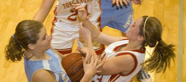 Tonganoxie High freshman Hannah Kemp has the basketball taken away from her against Chanute on Saturday. The Chieftains lost the Tonganoxie Invitational third-place game, 50-49.